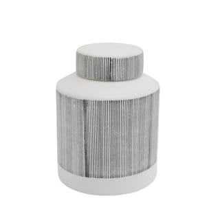 Contemporary Ceramic Jar Covered with Lid, Gray