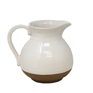 Ceramic Two Toned Decorative Pitcher with Handle, White and Brown