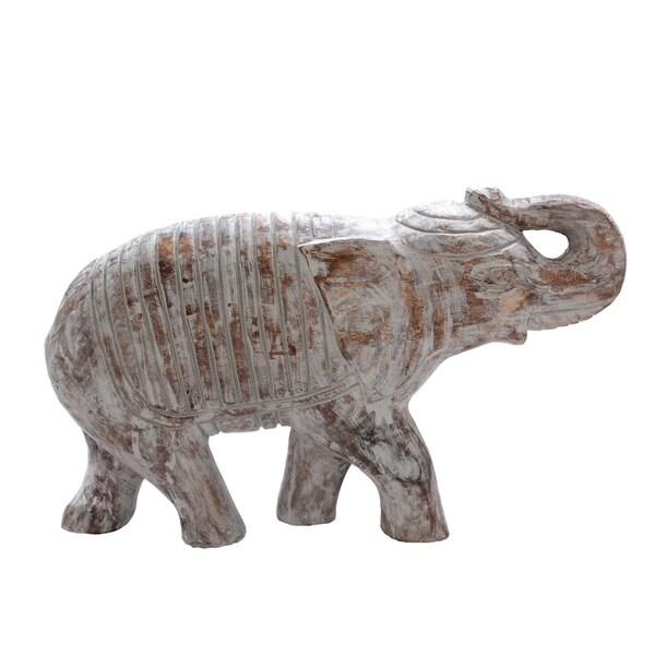 Distressed Mango Wood Trumpeting Elephant Figurine, Washed White