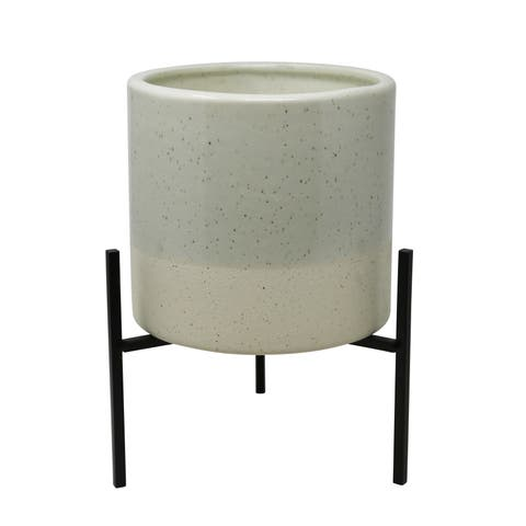 Ceramic Outdoor Citronella Candle in Pot with Metal Base, Gray