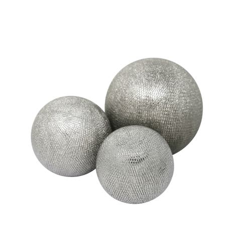 Decorative Ceramic Orbs with Textured Design, Silver, Set of Three
