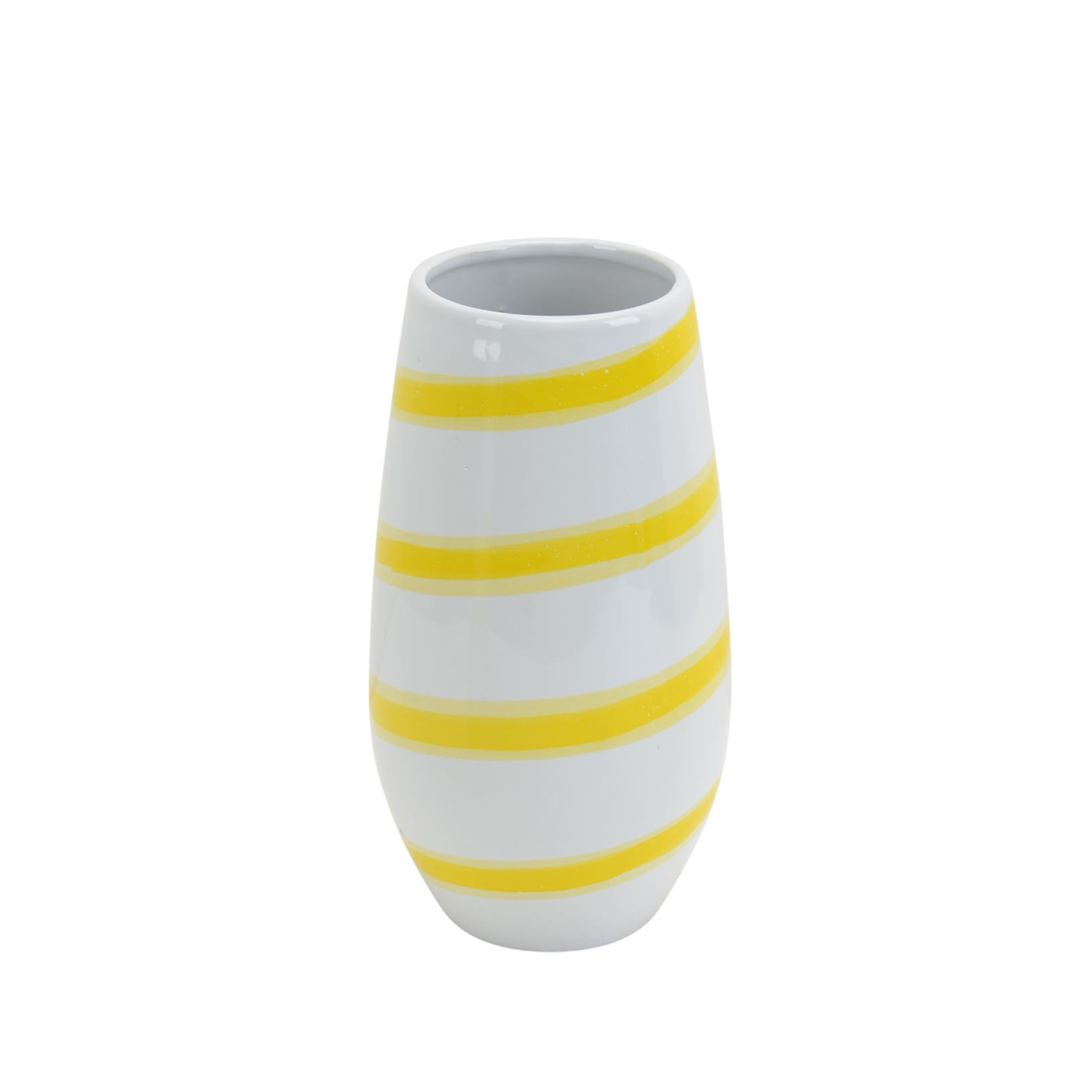 Decorative Ceramic Vase With Stripe Design Yellow And White Overstock 27430174