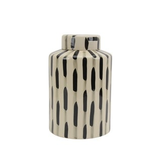 Ceramic Lidded Jar with Textured Outer Surface, Black and White