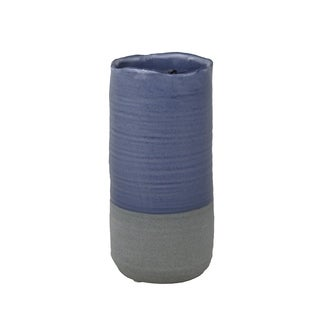 Ceramic Two Toned Vase with Irregular Mouth Rim and Round Bottom, Gray and Blue