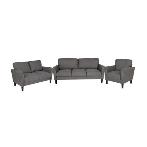 Offex 3 Piece Upholstered Chair, Loveseat and Sofa Set with Tailored Arms in Dark Gray Fabric