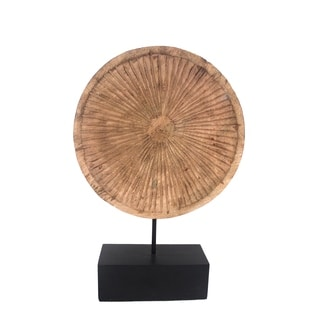 Carved Wooden Disc Decor with Iron Stand, Brown and Black