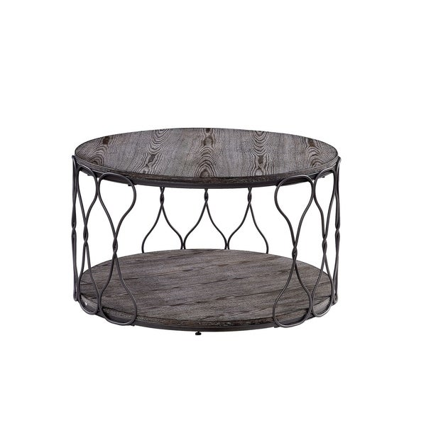 Industrial Style Round Metal and Solid Wood Coffee Table