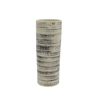 Ceramic Cylindrical Vase with Wire Brush Texture, Black and White