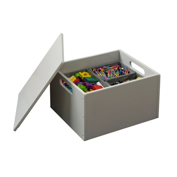 Tidy Books Handmade Wooden Toy Storage Sorting Box with Lid - Pale Grey