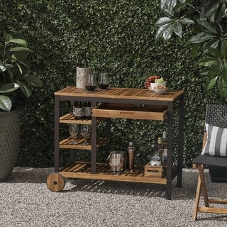 Admirals Outdoor Acacia Wood Bar Cart with Reversible Drawers and Bottle Holders by Christopher Knight Home