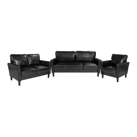 Offex 3 Piece Upholstered Chair, Loveseat and Sofa Set with Tailored Arms in Black Leather