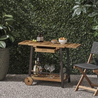 Spaulding Outdoor Wood Bar Cart with Tray Top and Bottle Holders by Christopher Knight Home