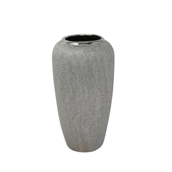 Decorative Tapered Ceramic Vase with Textured Pattern, Silver