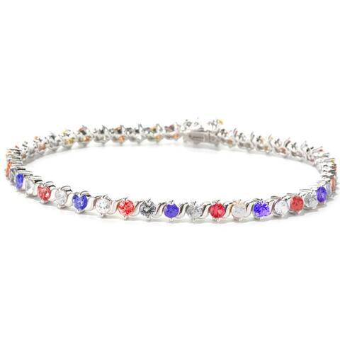 "Silvertone with Cubic Zirconia Tennis Bracelet-7.25"""