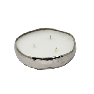 Decorative Metal Bowl with Candle, Sliver