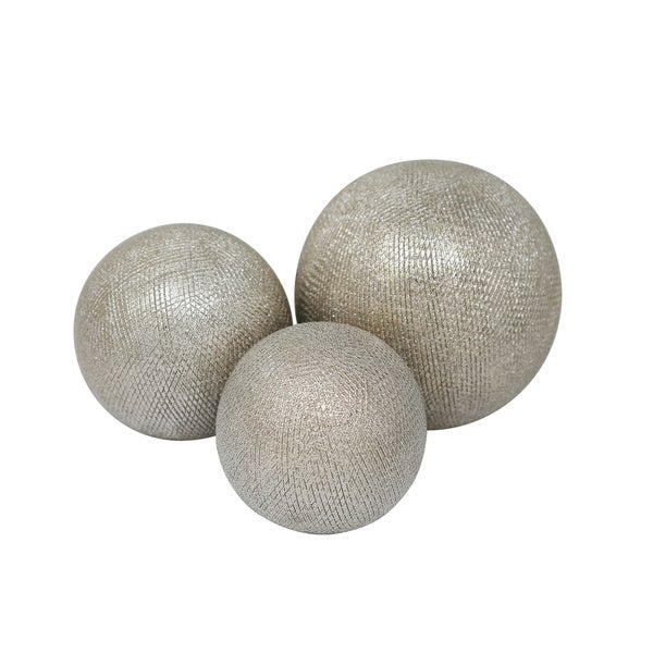 Decorative Ceramic Orbs with Textured Design, Champagne Silver, Set of Three