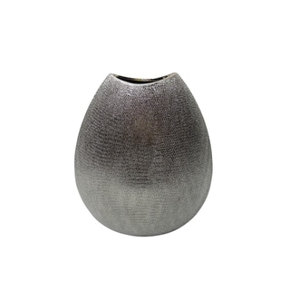Decorative Ceramic Vase with Textured Pattern, Champagne Silver
