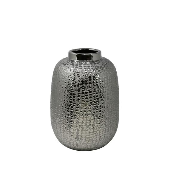 Decorative Ceramic Table Vase with Alligator Skin Like Texture, Medium, Silver