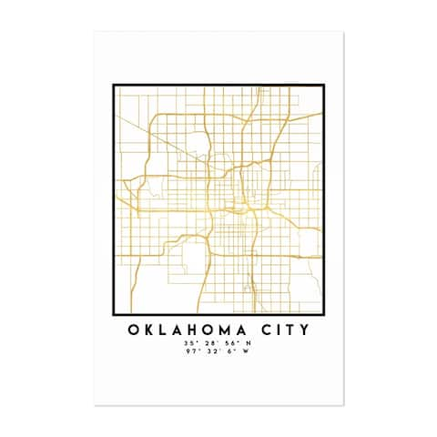 Noir Gallery Minimal Oklahoma City City Map Unframed Art Print/Poster