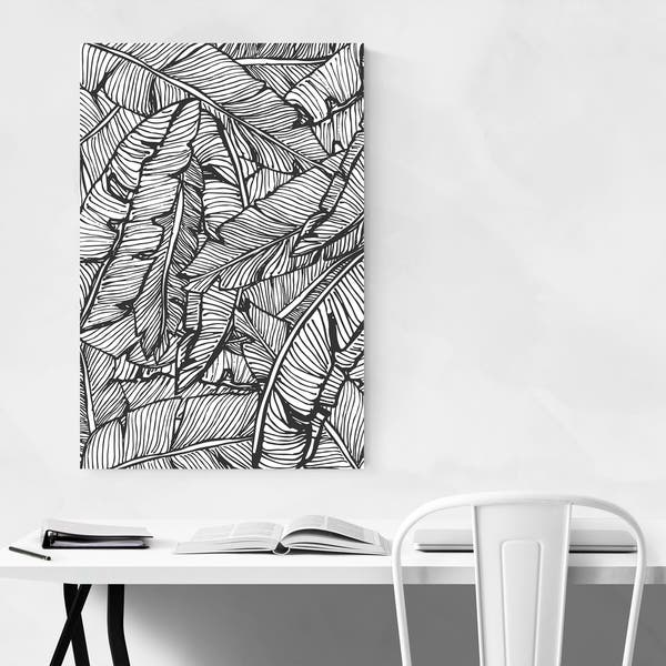 Pleasant Noir Gallery Black White Banana Leaf Unframed Art Print Poster Machost Co Dining Chair Design Ideas Machostcouk