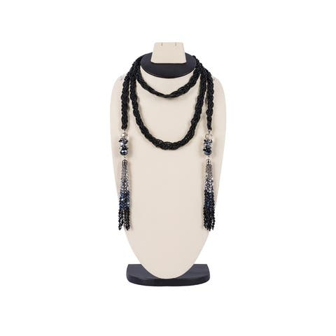 Long Beaded Necklace (Black) - Size: Length- 164 cm / 64.6 inches.