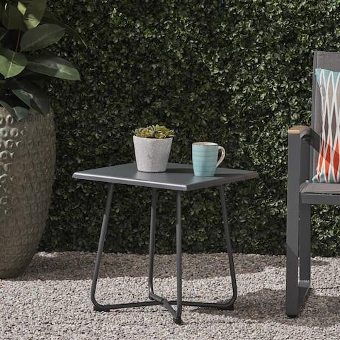 Christopher Knight Home Alder Steel Outdoor Modern Side Table