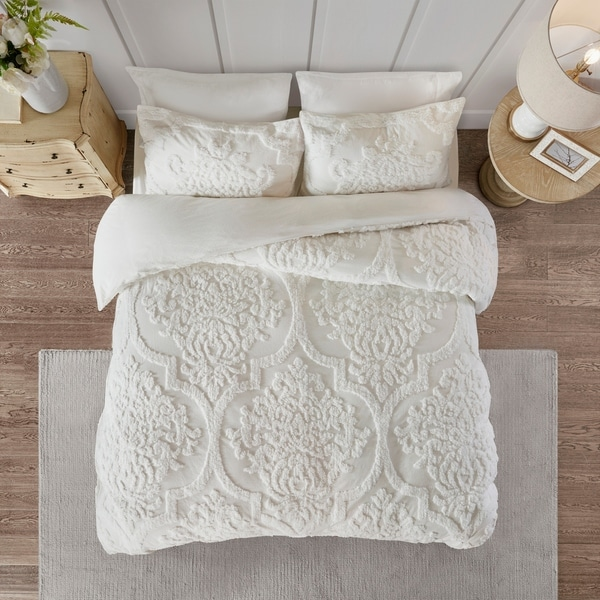 Madison Park Aeriela White Tufted Cotton Chenille Damask Duvet Cover Set