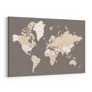 Noir Gallery Brown World Map with Cities Canvas Wall Art Print