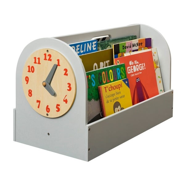 Tidy Books Handmade Portable Wooden Box with Play Clock - Pale Grey