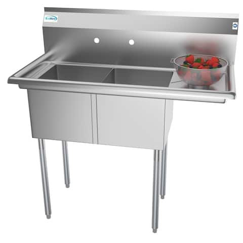 KoolMore 43-Inch Two Compartment Stainless Steel Commercial Kitchen Prep Sink - Right Drainboard