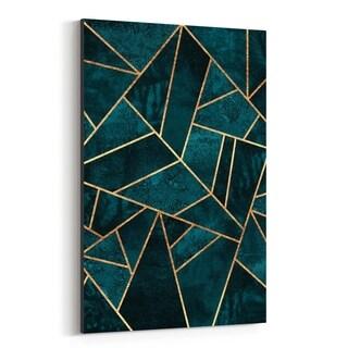 Noir Gallery Blue Abstract Geometric Nature Canvas Wall Art Print