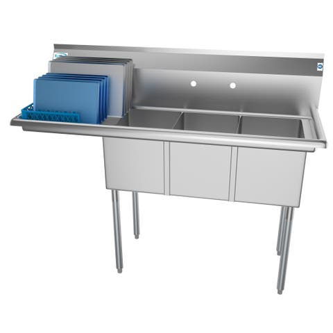 KoolMore 55-Inch Three Compartment Stainless Steel Commercial Kitchen Sink - Left Drainboard