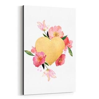 Noir Gallery Gold Floral Heart Love Wedding Canvas Wall Art Print