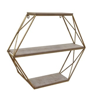 Metal and Wood Three Tier Hexagon Wall Shelf, White and Gold