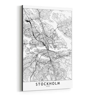 Noir Gallery Stockholm Black & White City Map Canvas Wall Art Print
