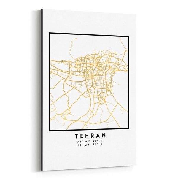 Noir Gallery Minimal Tehran City Map Canvas Wall Art Print