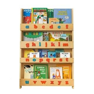 Tidy Books Kid's Handmade Wooden Bookshelf with Montessori Style Alphabet - Natural