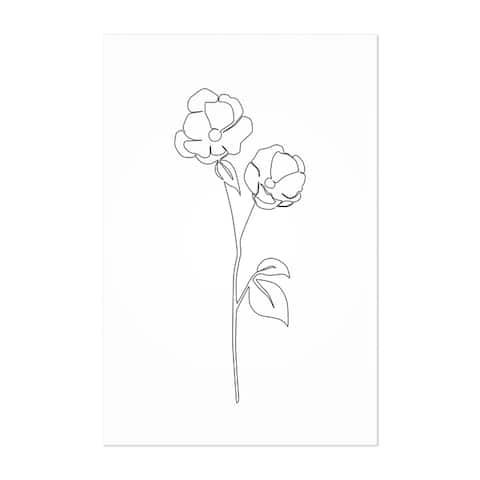 Noir Gallery Scandinavian Flower Line Drawing Unframed Art Print/Poster