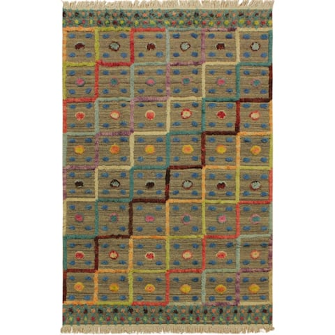 Moroccan High-Low Pile Irma Brown/Green Wool Rug - 6'2 x 9'2 - 6 ft. 2 in. X 9 ft. 2 in. - 6 ft. 2 in. X 9 ft. 2 in.