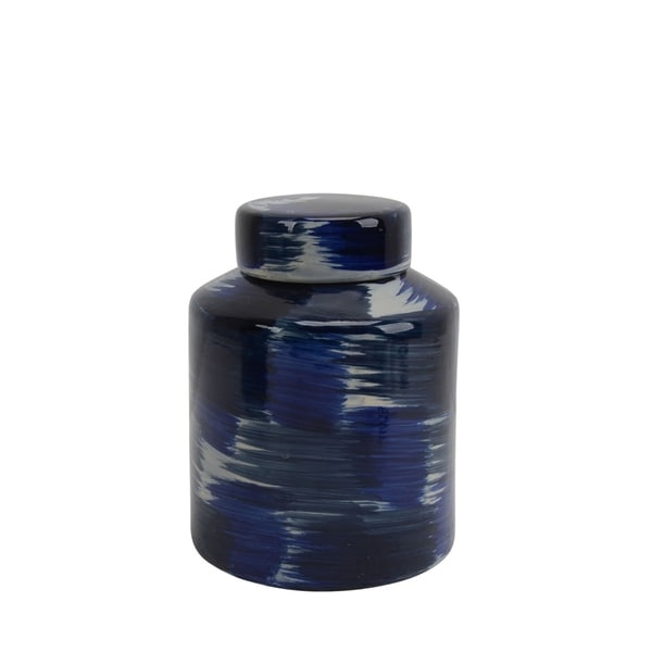 Ceramic Lidded Jar with Textured Pattern, Small, Black and Blue