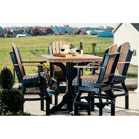 Outdoor Bar Height Dining Set - Table & 4 Swivel Arm Chairs