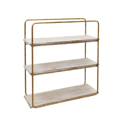 Metal and Wood Three Tier Wall Shelf, Gold and White