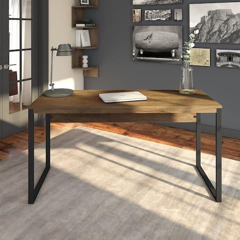 Carbon Loft Jannah Writing Desk in Rustic Brown Embossed