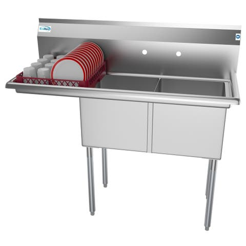 KoolMore 48-Inch Two Compartment Stainless Steel Commercial Prep Sink - Left Drainboard