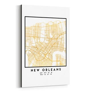 Noir Gallery Minimal New Orleans City Map Canvas Wall Art Print