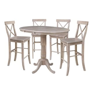 """36"""" Round Extension Dining Table with Four Barheight Stools, Washed Gary Taupe"""
