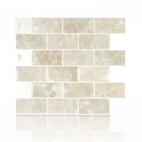 Subway Sora 10.95 in. x 9.70 in. Peel and Stick Self-Adhesive Decorative Mosaic Wall Tile Backsplash (4-Pack)