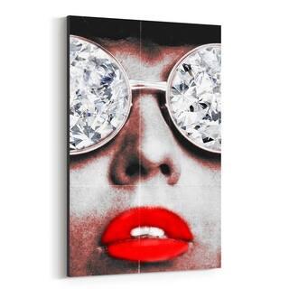 Noir Gallery Fashion Lipstick Diamond Glamour Canvas Wall Art Print