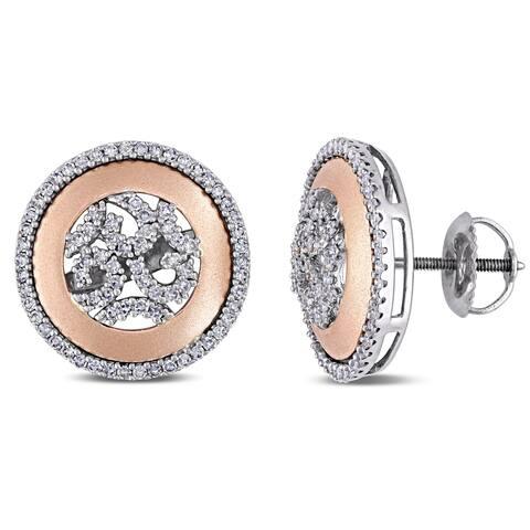 Miadora 2-Tone 14k Rose and White Gold 1/2ct TDW Diamond Filigree Halo Stud Screw-Back Earrings