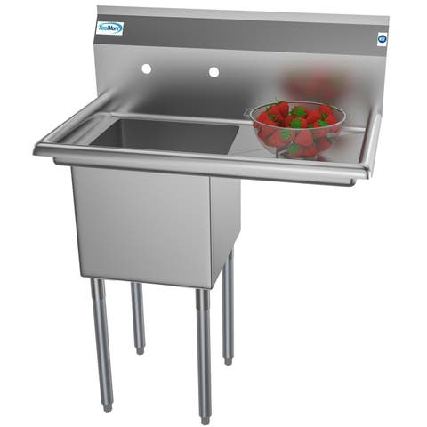 KoolMore 33-Inch Stainless Steel Commercial Kitchen Prep and Utility Sink - Right Drainboards